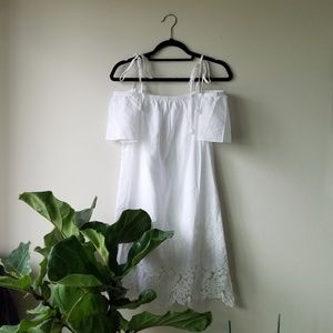 NWT Madewell eyelet off cold shoulder dress white